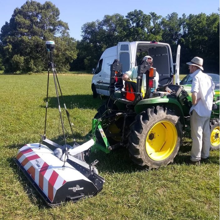 A Raptor-45 3D GPR Array is attached to a tractor for scanning the subsurface of an archaeological site.